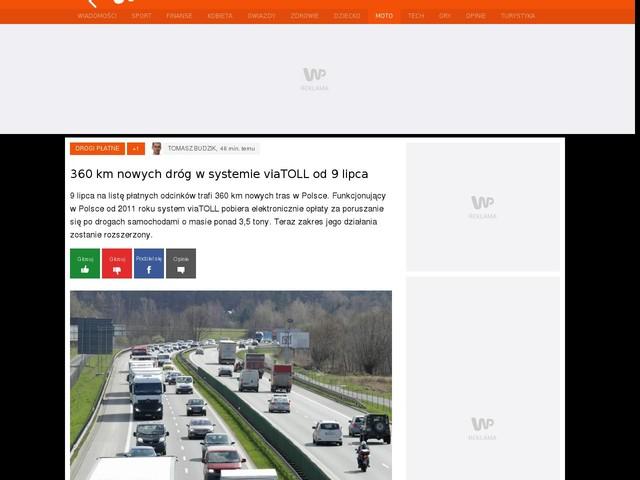 360 km nowych dróg w systemie viaTOLL od 9 lipca