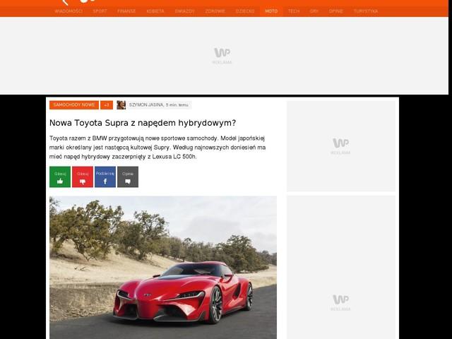Nowa Toyota Supra z napędem hybrydowym?