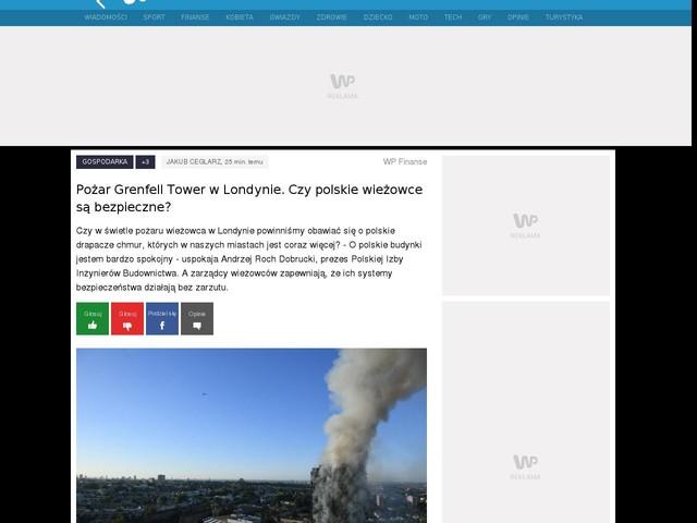 Pożar Grenfell Tower w Londynie. Czy polskie wieżowce są bezpieczne?