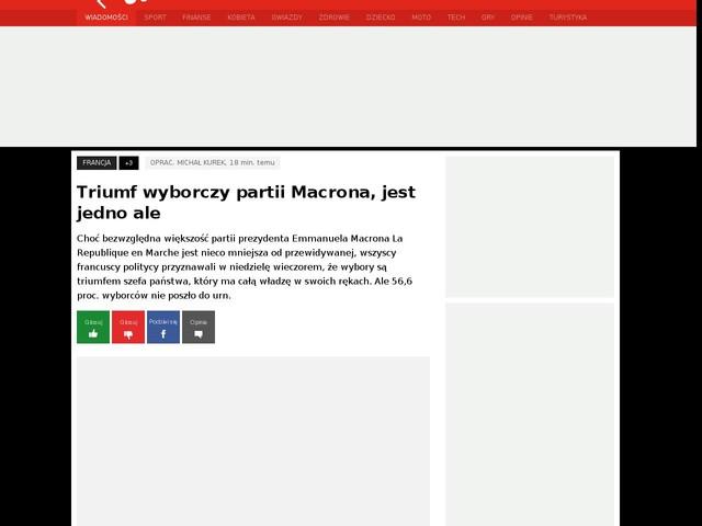 Triumf wyborczy partii Macrona, jest jedno ale