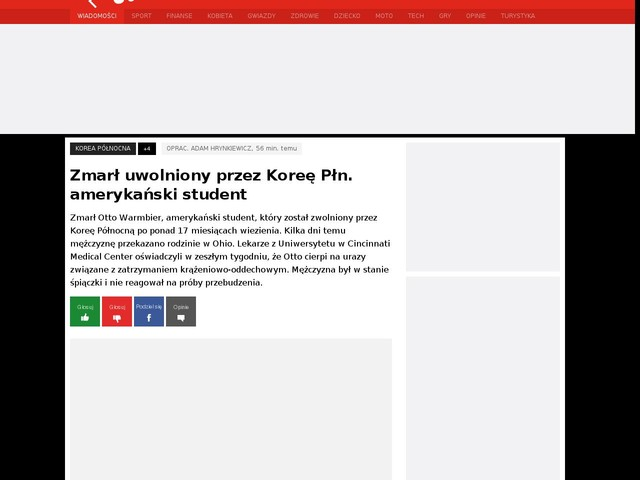Zmarł uwolniony przez Koreę Płn. amerykański student