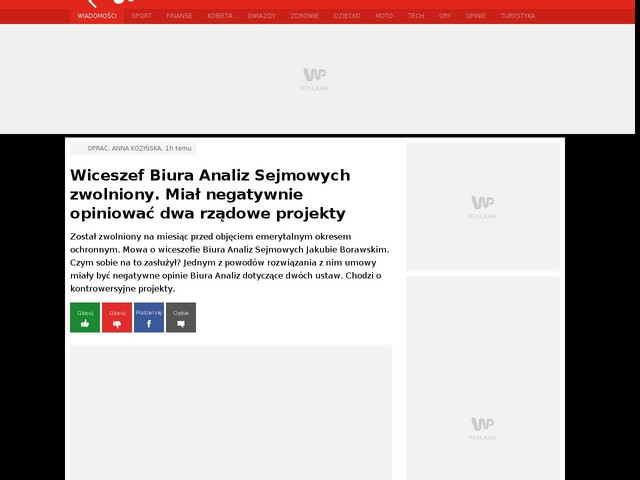 Wiceszef Biura Analiz Sejmowych zwolniony. Miał negatywnie opiniować dwa rządowe projekty