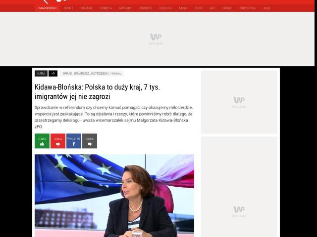 Kidawa-Błońska: Polska to duży kraj, 7 tys. imigrantów jej nie zagrozi