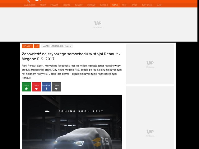 Zapowiedź najszybszego samochodu w stajni Renault - Megane R.S. 2017