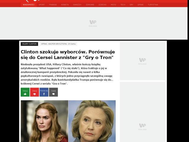 """Clinton szokuje wyborców. Porównuje się do Cersei Lannister z """"Gry o Tron"""""""