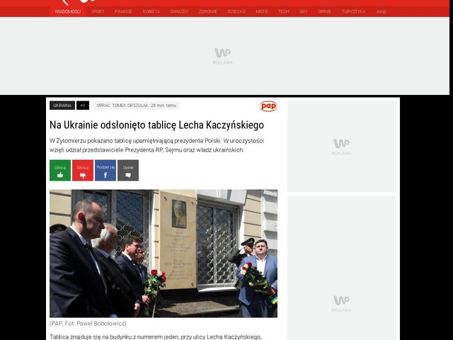 Na Ukrainie odsłonięto tablicę Lecha Kaczyńskiego