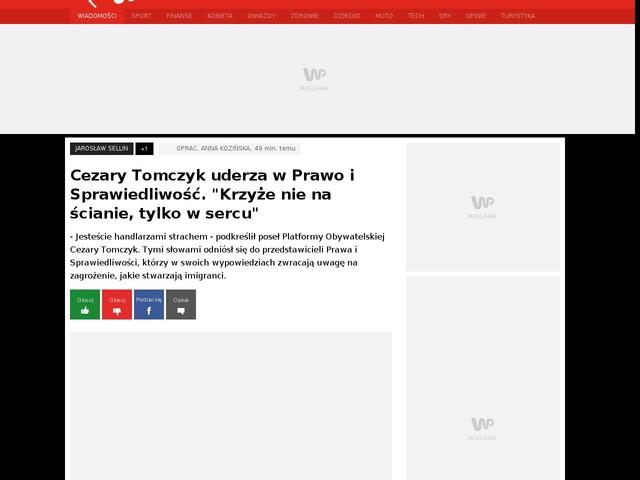 """Cezary Tomczyk uderza w Prawo i Sprawiedliwość. """"Krzyże nie na ścianie, tylko w sercu"""""""