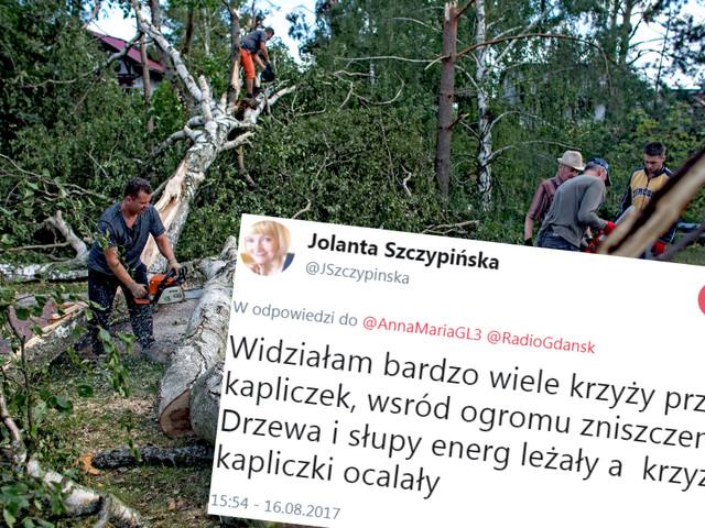 Wichury demolowały domy. Jolanta Szczypińska cieszy się... z ocalałego krzyża
