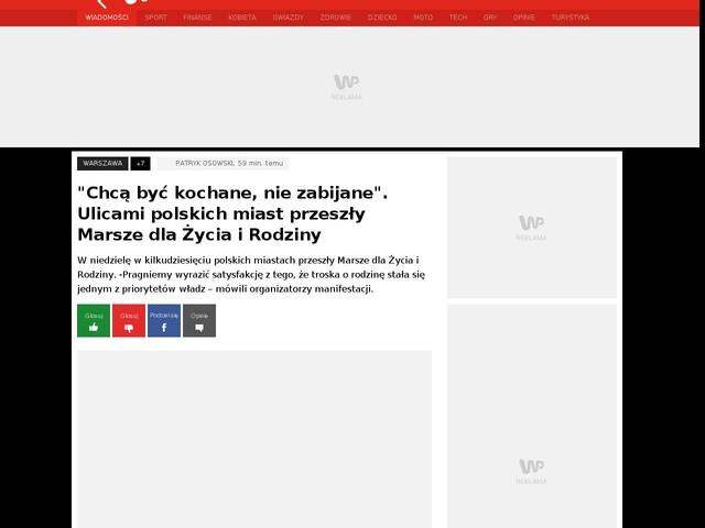 """""""Chcą być kochane, nie zabijane"""". Ulicami polskich miast przeszły Marsze dla Życia i Rodziny"""
