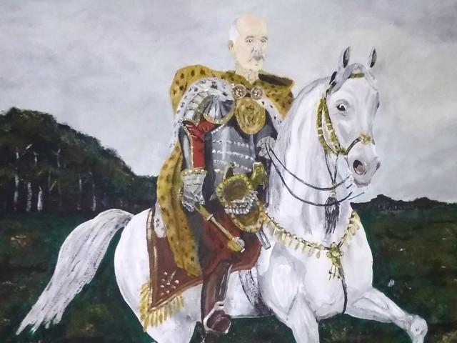 """Obraz z podobizną Janusza Korwin-Mikkego trafił na aukcję. """"Romantyczny wojownik na białym koniu"""". Cena już szybuje"""