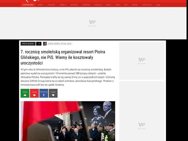 7. rocznicę smoleńską organizował resort Piotra Glińskiego, nie PiS. Wiemy ile kosztowały uroczystości
