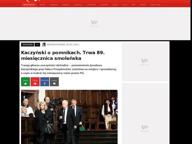 Kaczyński o pomnikach. Trwa 89. miesięcznica smoleńska