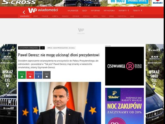 Paweł Deresz: nie mogę uścisnąć dłoni prezydentowi