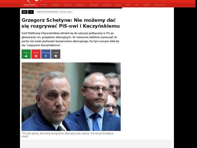 Grzegorz Schetyna: Nie możemy dać się rozgrywać PiS-owi i Kaczyńskiemu