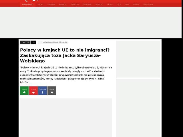 Polacy w krajach UE to nie imigranci? Zaskakująca teza Jacka Saryusza-Wolskiego