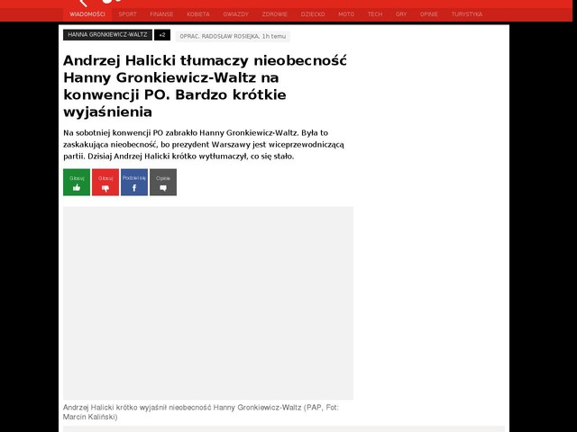 Andrzej Halicki tłumaczy nieobecność Hanny Gronkiewicz-Waltz na konwencji PO. Bardzo krótkie wyjaśnienia