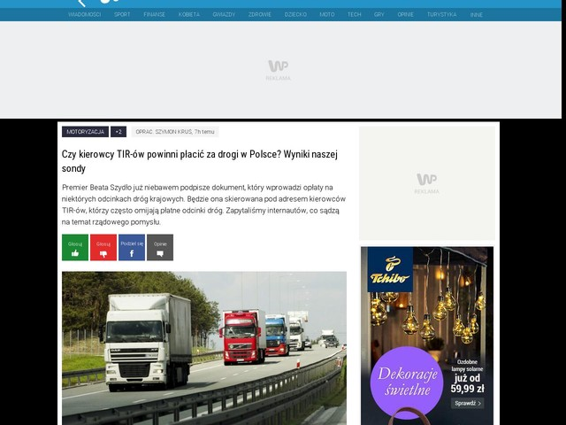 Czy kierowcy TIR-ów powinni płacić za drogi w Polsce? Wyniki naszej sondy