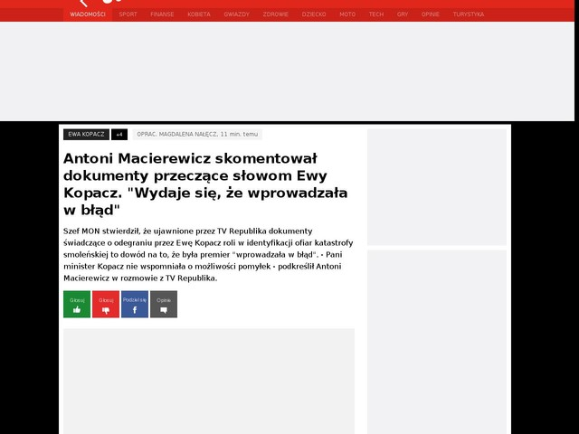 """Antoni Macierewicz skomentował dokumenty przeczące słowom Ewy Kopacz. """"Wydaje się, że wprowadzała w błąd"""""""