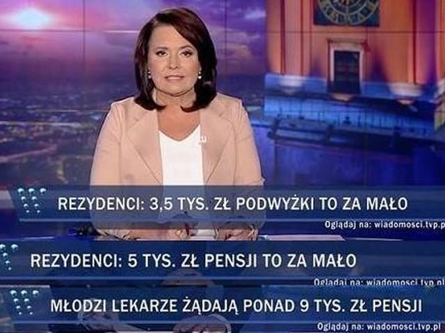 Ewolucja przekazu w TVP. Lekarze wczoraj żądali 3,5 tys. zł, teraz już miliardów