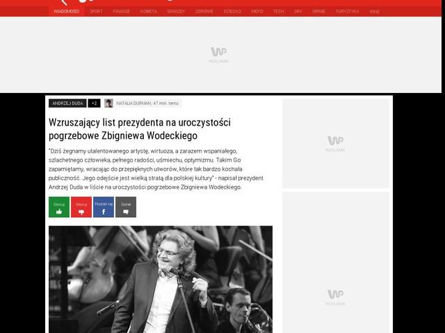 Wzruszający list prezydenta na uroczystości pogrzebowe Zbigniewa Wodeckiego