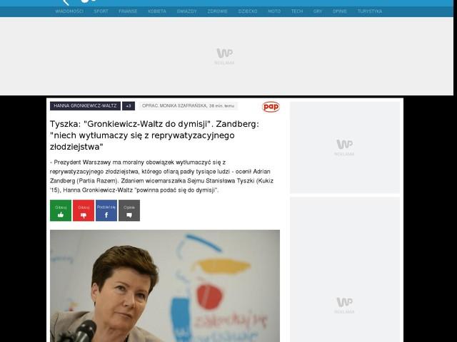 """Tyszka: """"Gronkiewicz-Waltz do dymisji"""". Zandberg: """"niech wytłumaczy się z reprywatyzacyjnego złodziejstwa"""""""