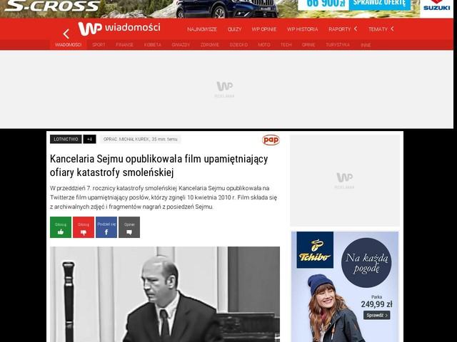 Kancelaria Sejmu opublikowała film upamiętniający ofiary katastrofy smoleńskiej