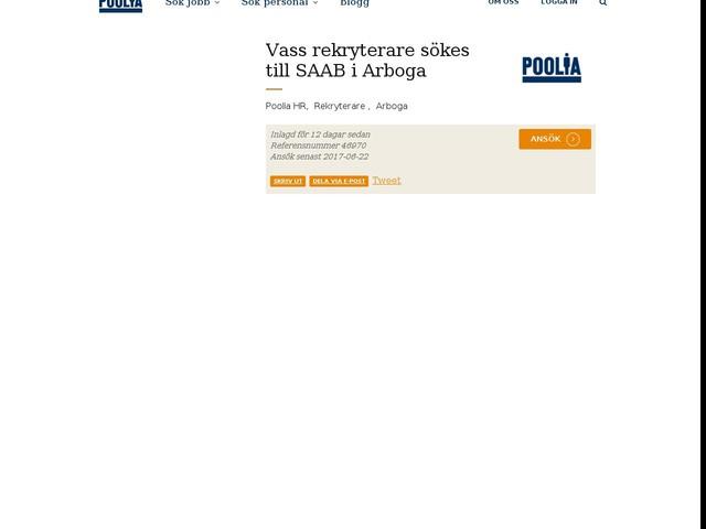 Vass rekryterare sökes till SAAB i Arboga