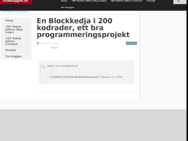 En Blockkedja i 200 kodrader, ett bra programmeringsprojekt