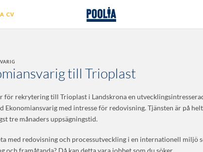 Ekonomiansvarig till Trioplast, Poolia Malmö AB
