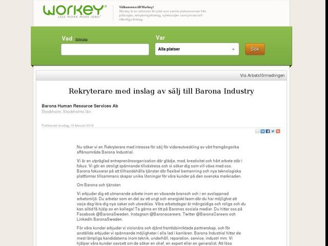Rekryterare med inslag av sälj till Barona Industry