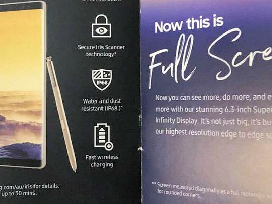 Broschyr avslöjar specifikationer för Samsung Galaxy Note 8