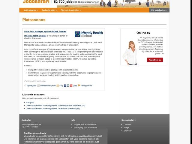 Local Trial Manager, sponsor based, Sweden, Jobg8