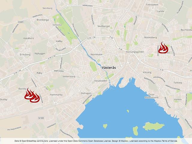 Flera bilbränder på olika håll