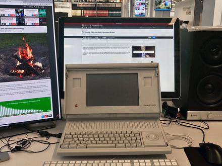 TV-inslag från när Macintosh Portable läckte
