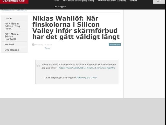 Niklas Wahllöf: När finskolorna i Silicon Valley inför skärmförbud har det gått väldigt långt