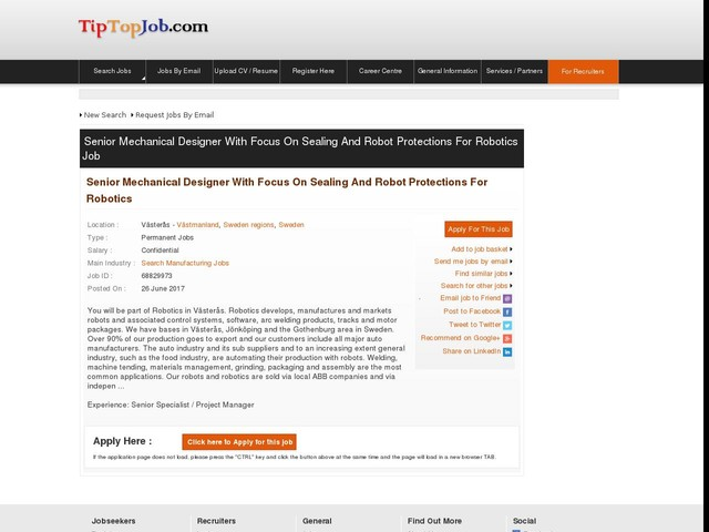 Senior Mechanical Designer with focus on sealing and robot protections for Robotics