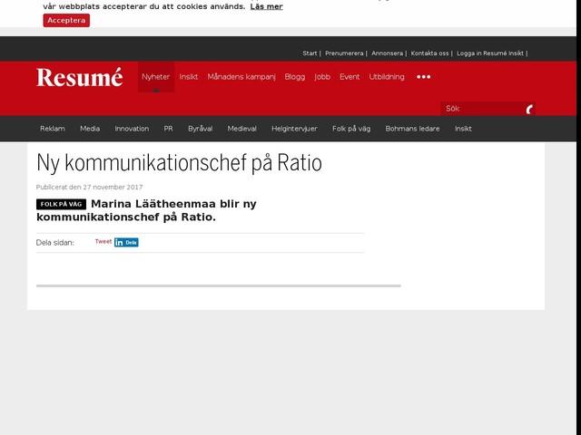 Ny kommunikationschef på Ratio