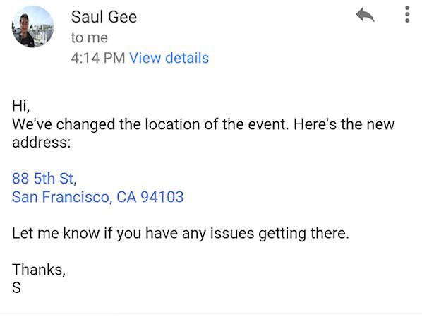 Gmail börjar förvandla adresser, nummer och kontakter till länkar