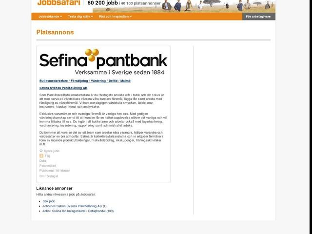 Butiksmedarbetare / Försäljning / Värdering / Deltid / Malmö, Sefina Svensk Pantbelåning AB