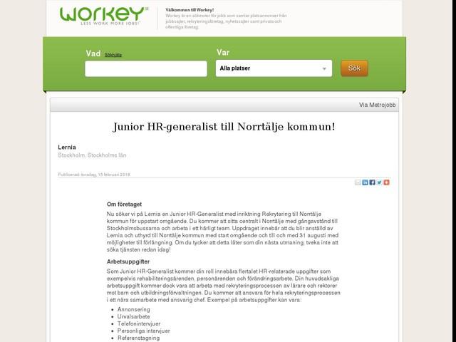 Junior HR-generalist till Norrtälje kommun!