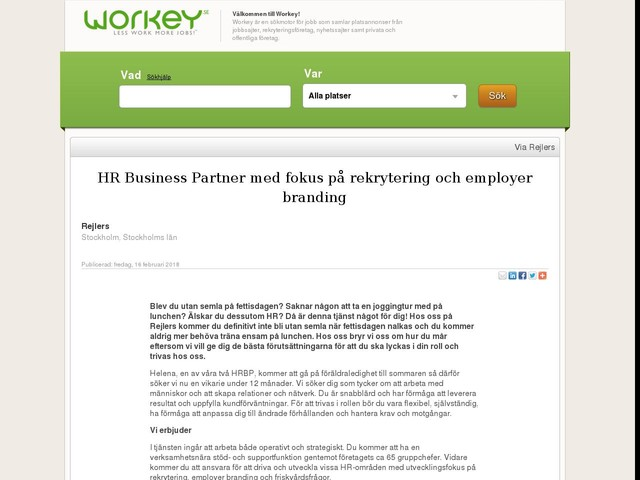 HR Business Partner med fokus på rekrytering och employer branding