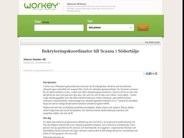Rekryteringskoordinator till Scania i Södertälje