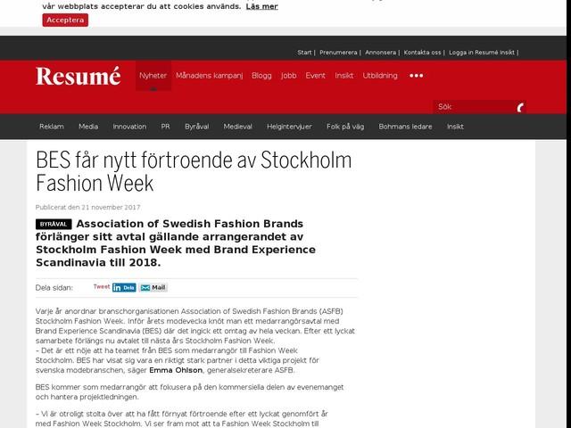 BES får nytt förtroende av Stockholm Fashion Week