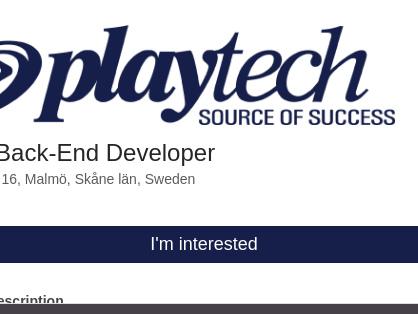 Senior Back-End Developer, Playtech Holding Sweden AB