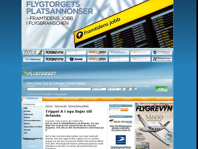 Trippel A i nya linjer till Arlanda
