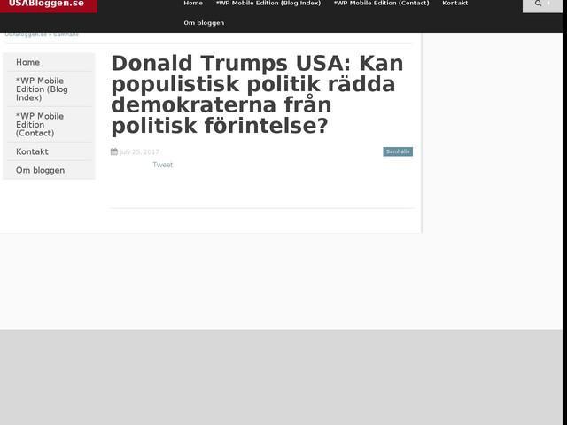 Donald Trumps USA: Kan populistisk politik rädda demokraterna från politisk förintelse?