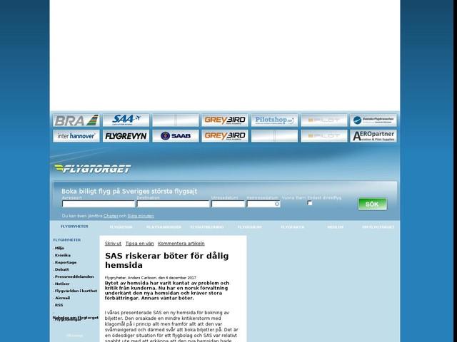 SAS riskerar böter för dålig hemsida