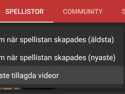 Nu går det att sortera spellistor i YouTube-appen