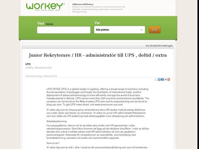 Junior Rekryterare / HR - administratör till UPS , deltid / extra