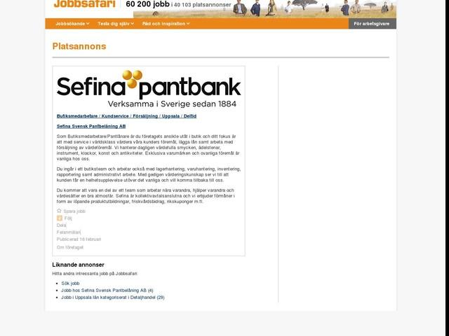 Butiksmedarbetare / Kundservice / Försäljning / Uppsala / Deltid, Sefina Svensk Pantbelåning AB